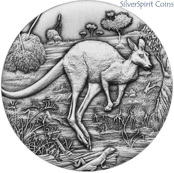 2016 $2 AUSTRALIAN KANGAROO 2oz Silver High Relief Antiqued Finish Coin