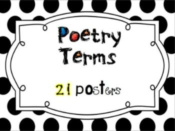 There are 21 poetry terms and definitions in this set. They are on black and white chevron and polka dot backgrounds. Print them on card stock and laminate. Post in your classroom or hallway for quick reference. The terms included are: alliteration, onomatopoeia, couplet, personification, metaphor, hyperbole, refrain, meter, rhyme scheme, assonance, verse, repetition, poet, palindrome, consonance, simile, narrative poem, imagery, cinquain, stanza, and prose.