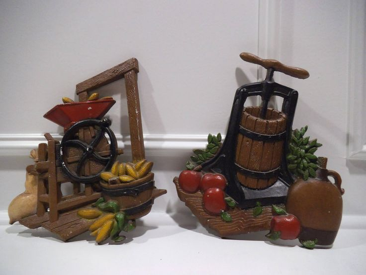 Vintage Metal Homco USA 1978 Corn Sheller & Cider Press Wall Plaques - Set of 2 by GeorgialArtsCrafts on Etsy