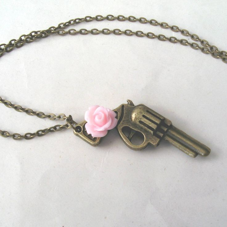 Guns+and+Roses+Brass+Gun+Necklace+with+Rose+Flower+by+TemporalFlux