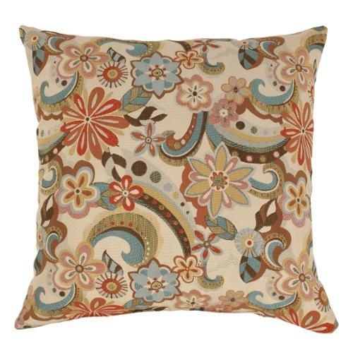 Floral Paisley Decorative Corded Square Floor Throw Pillow