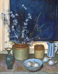 Still Life, Flannel Flowers and Onions MARGARET HANNAH OLLEY (B. 1923)