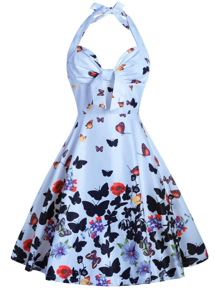 Halter Butterfly Print A Line Dress - LIGHT BLUE