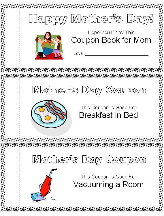 printable mother 39 s day coupon book kid crafts pinterest. Black Bedroom Furniture Sets. Home Design Ideas