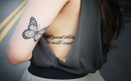 Small+Butterfly+on+Upper+Back+Arm+Tattoo