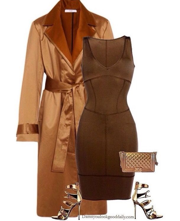 Obsessed with these Wedding Guest Outfit Ideas for fall and winter weddings. These are perfect Wedding guest outfits for cold weather with coat. Gold silk coat with brown dress, Giuseppe Zanotti gold heels and a gold chanel bag.