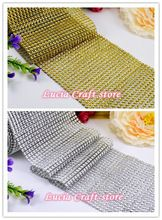12cm Plastic / Resin Mesh trim diamond Decoration Party Ribbons Wedding party event supplies 1y/lot 030007016(China)