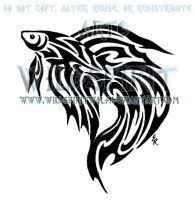 Tribal Betta Fish Tattoo by WildSpiritWolf