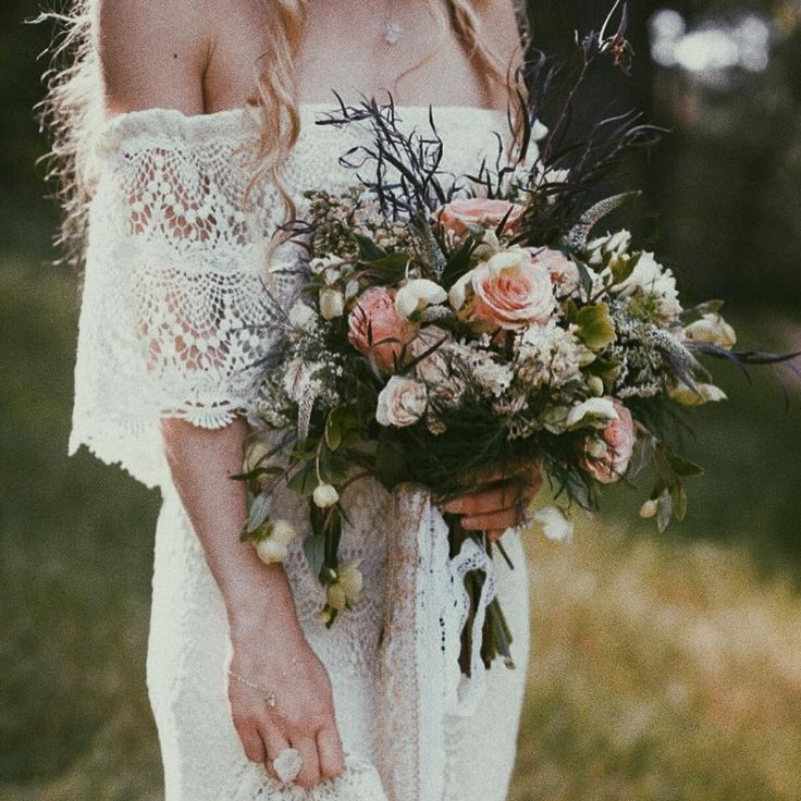 "Off the Shoulder Ivory Wedding Dress with Crochet Lace for Hippie Bride - ""Camille"" by Daughters of Simone"