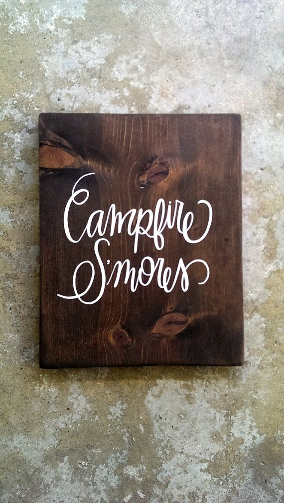 for a special event or your own special fire area: campfire S'MORES board...CUSTOM free-hand hand-painted wooden sign by emlaurenVO {**ALL OF MY WORK IS PROTECTED UNDER THE COPYRIGHT LAWS--PLEASE DO NOT COPY ANY OF MY DESIGNS &/OR EXPLOIT MY HARD WORK, thank you**}