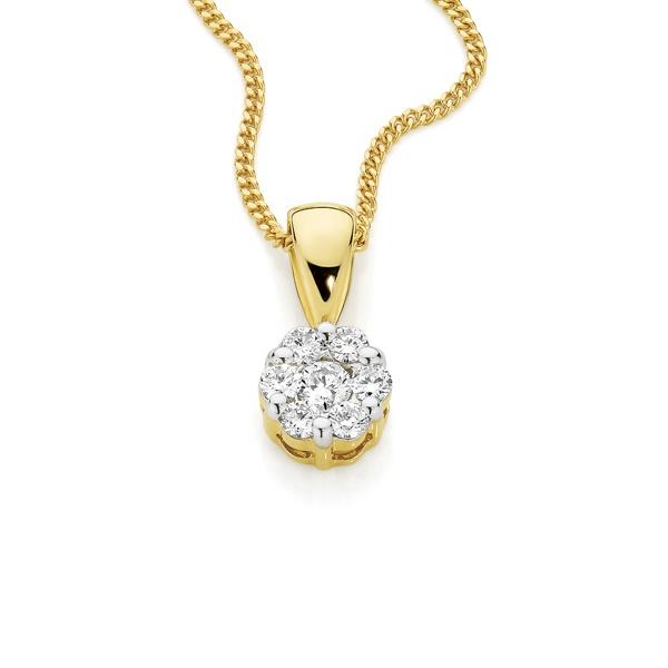 9ct Yellow Gold Diamond Cluster Pendant