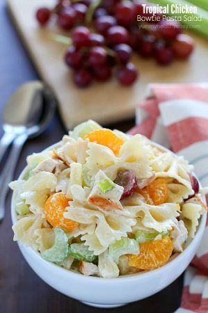 Tropical Chicken Bowtie Pasta Salad - Yummy Healthy Easy