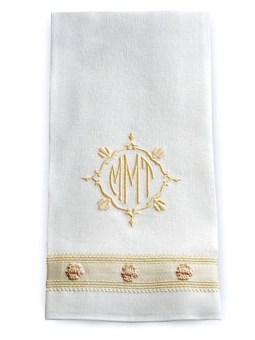 Quot Melissa Quot Guest Towel In Ivory Linen With Cream Rosette