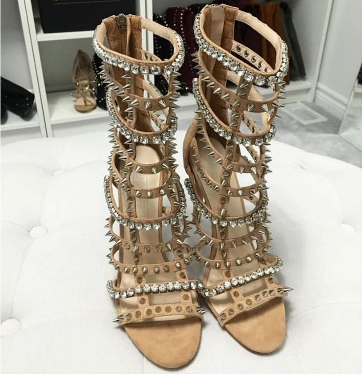 Nude Gladiator Sandals Women High Heels Crystals Shoes Woman Rivets Zapatos Mujer Ladies Sandles Luxury Shoes Women 2016 Custom