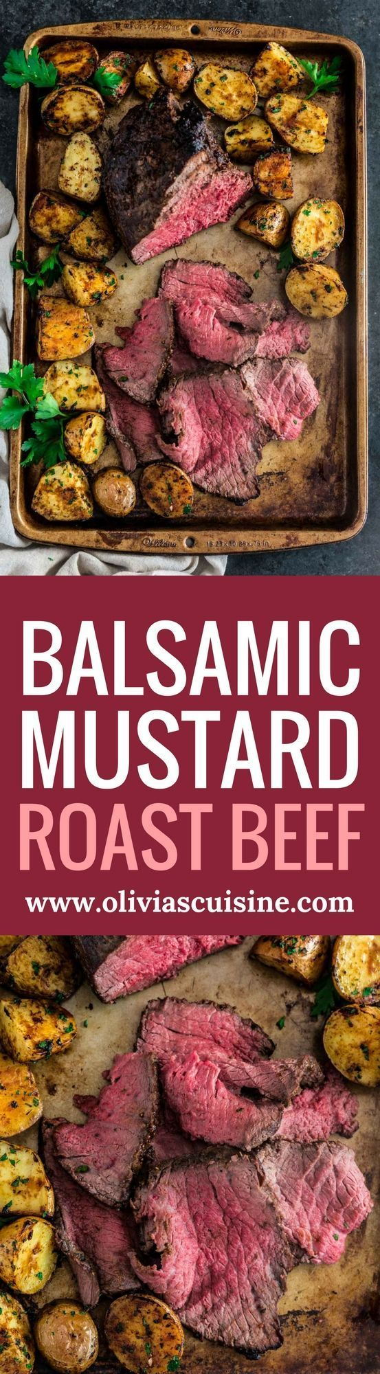 Balsamic Mustard Roast Beef | http://www.oliviascuisine.com | No holiday table is complete without a beautiful centerpiece roast beef. Glazed with balsamic mustard, this version is both simple and impressive. It will quickly become your go-to recipe for a