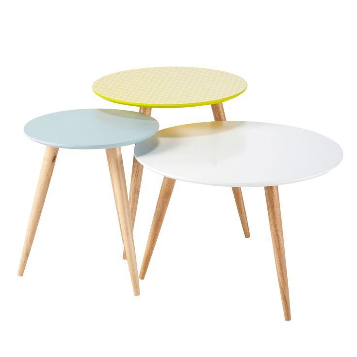 3 tables basses gigognes vintage en bois multicolores L 40 cm à L 60 cm Fjord