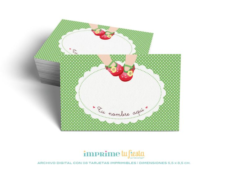 Printable BUSINESS CARDS | For Kids | Red Little Shoes-Dots | Prints as many times you want | 8 Completely CUSTOMIZED cards for you! - pinned by pin4etsy.com