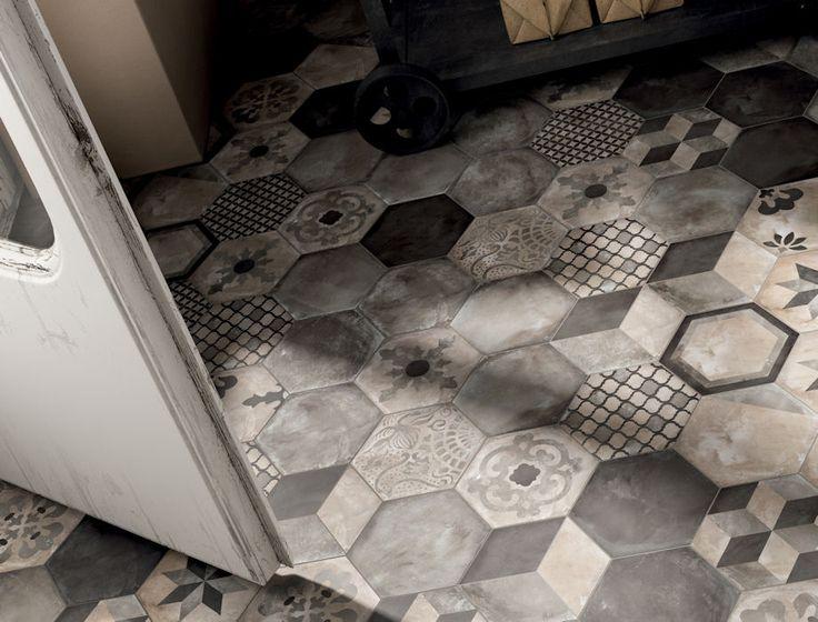 Casablanca Mono Hexagon Decorative & Glazed Mandarin Stone #pattern #hexagons #tiles