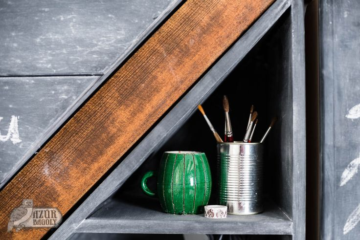 vintage green mug with metal pencil holder - DIY-irodasarok - Műhely - Azúr Bagoly