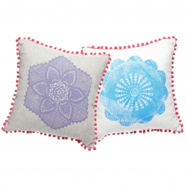 Emma Cleine Mandala Cushion Peach Trim :: Collections :: Crate Expectations :: Gifts & Homewares