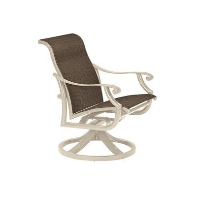 Tropitone Montreux Ii Swivel Patio Dining Chair Finish: Sonora, Fabric: Mia II