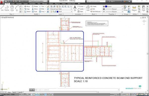 Cantilever Concrete Beam Reinforcement Detail With Adjucent Continuous Beam Reinforced Concrete Concrete Column Concrete Stairs