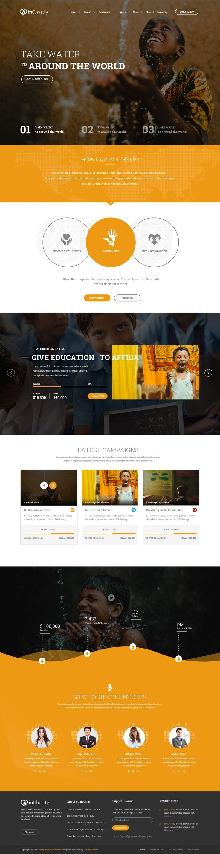 InCharity might be one of the best PSD template at Themeforest for Charity, Fundraising and Non-Profit and corporate website. Some of the key features: responsive design, parallax scrolling, 6+ homepage, #Charity and #Fundraising design, woo-commerce, free font and icons #psdtemplate