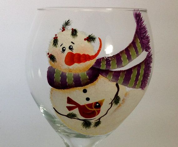 Love Love Love this set of wine glasses. I love SNOWMEN, their purple scarves are so cute. These were fun to paint many layers of color to get the perfect look. Glass is a bit challenging when it comes to shading and layers of color. Christmas is in the air so these adorable snowmen need