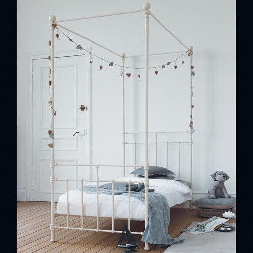 Cama con dosel infantil 90 × 190 cm de metal blanca