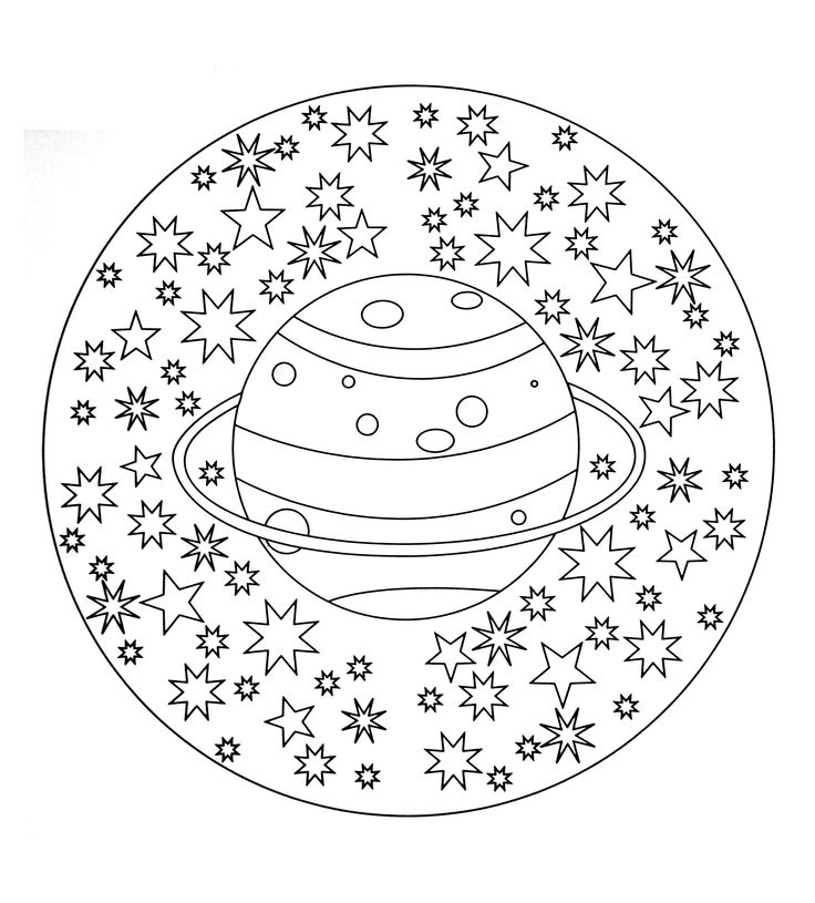 Free coloring page free-mandala-to-color-planet-stars. free-mandala-to-color-planet-stars