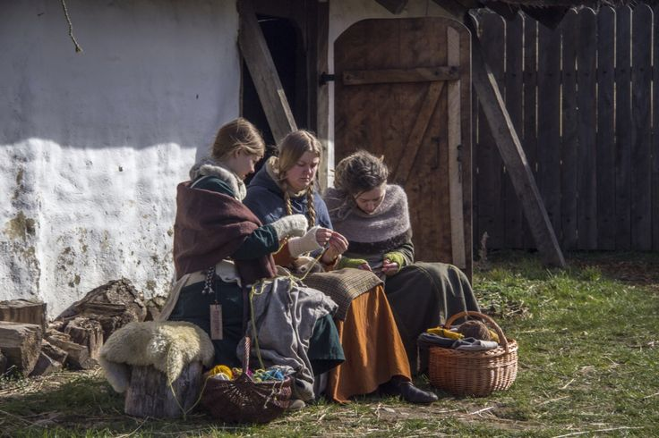 viking women working at trelleborg, slagelse in Denmark.  i like when people dont know they are being photografied it becomes more natural