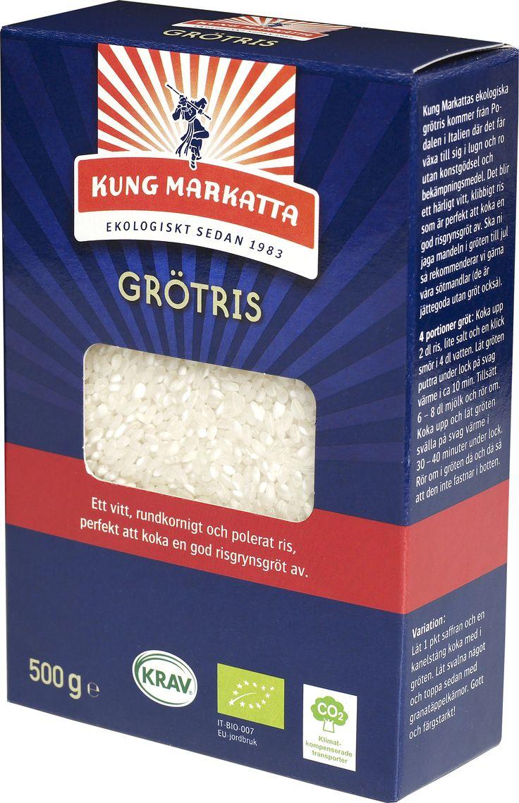 Vitt grötris 500 g | Kung Markatta - kungen av ekologiskt. Vitt grötris 500 g  Kung Markattas ekologiska grötris kommer från Podalen i Italien där det får växa till sig i lugn och ro utan konstgödsel och bekämpningsmedel. Det blir ett härligt vitt, klibbigt ris som är perfekt att koka en god risgrynsgröt av. Ska ni jaga mandeln i gröten till jul så rekommenderar vi gärna våra sötmandlar (de är jättegoda utan gröt också.)