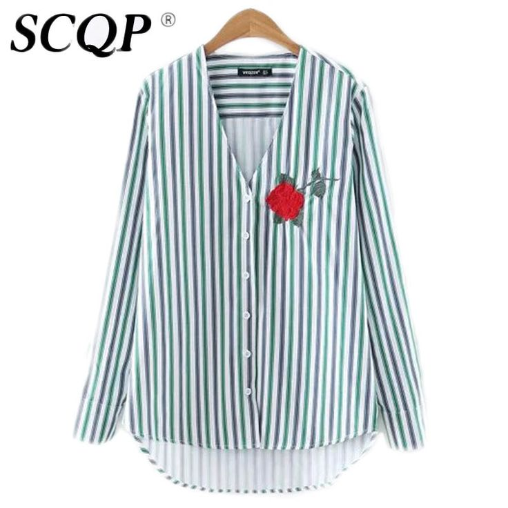 SCQP Striped Embroidery Flower Office Blouse Long Sleeve Womens Blouses Casual V Neck Women Tops And Blouses 2016 New Fashion