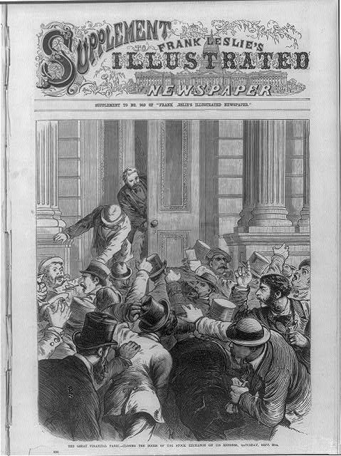 The Great Financial Panic of 1873 - Closing the door of the Stock Exchange on its members, Saturday, Sept. 20th