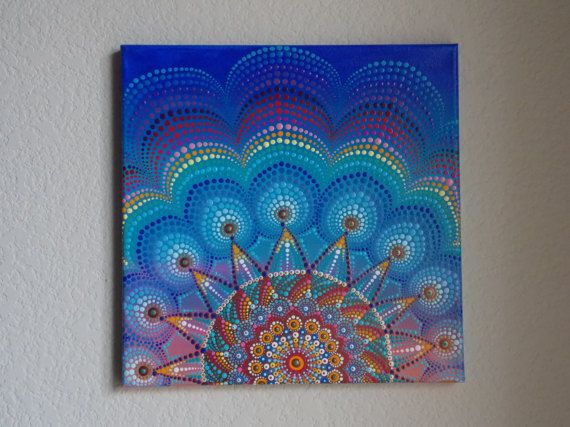 Pintura de Mandala de Sunburst Original 12 x 12 por KailasCanvas