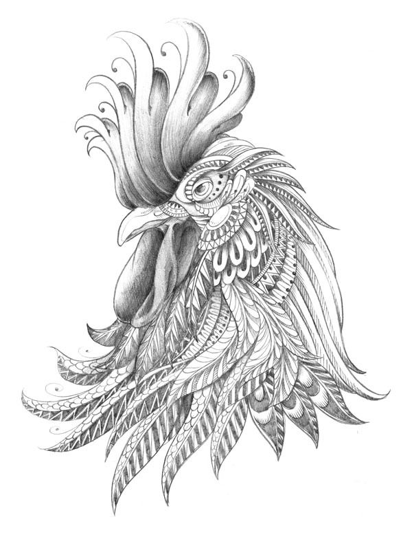 Line Art Rooster : Ornately decorated rooster by bioworkz via behance