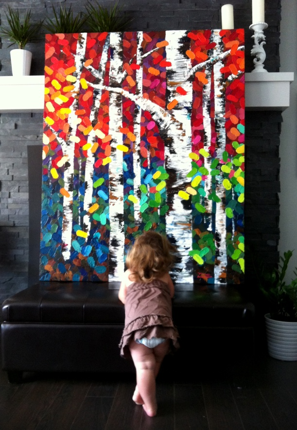My little girl admiring my big birch tree painting titled, Tonight I Dream In Color