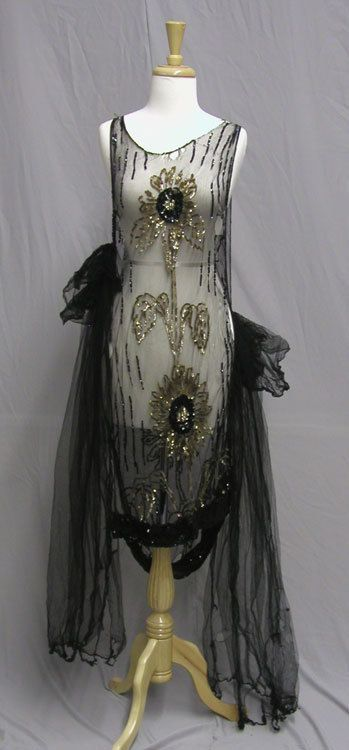 Black Netted 1920's Gown. Phenomenal 1920's Deco Platter Sequined Tunic Over Dress, created to wear over a simple 1920's slip. www.vintageclothin.com