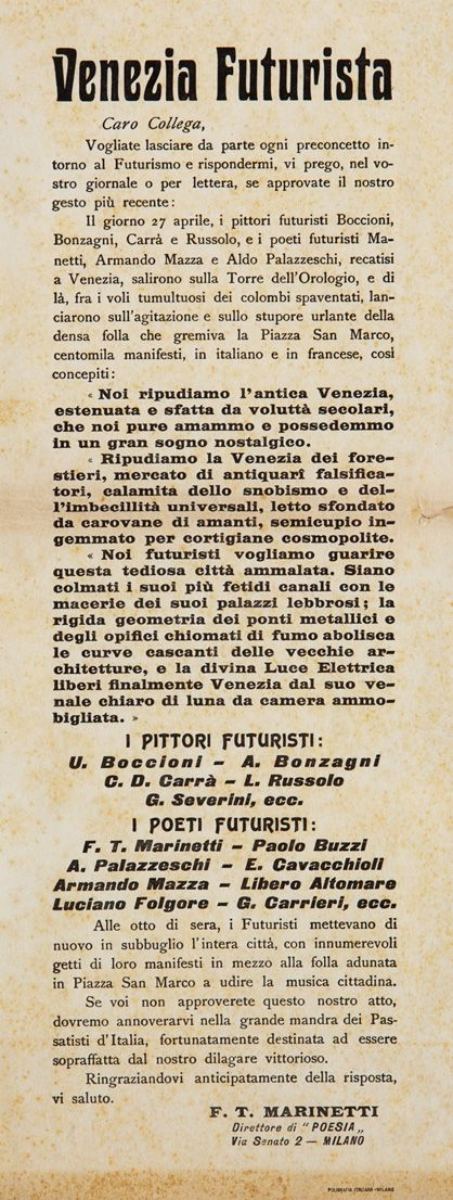Filippo Tommaso Marinetti, Discorso contro i veneziani