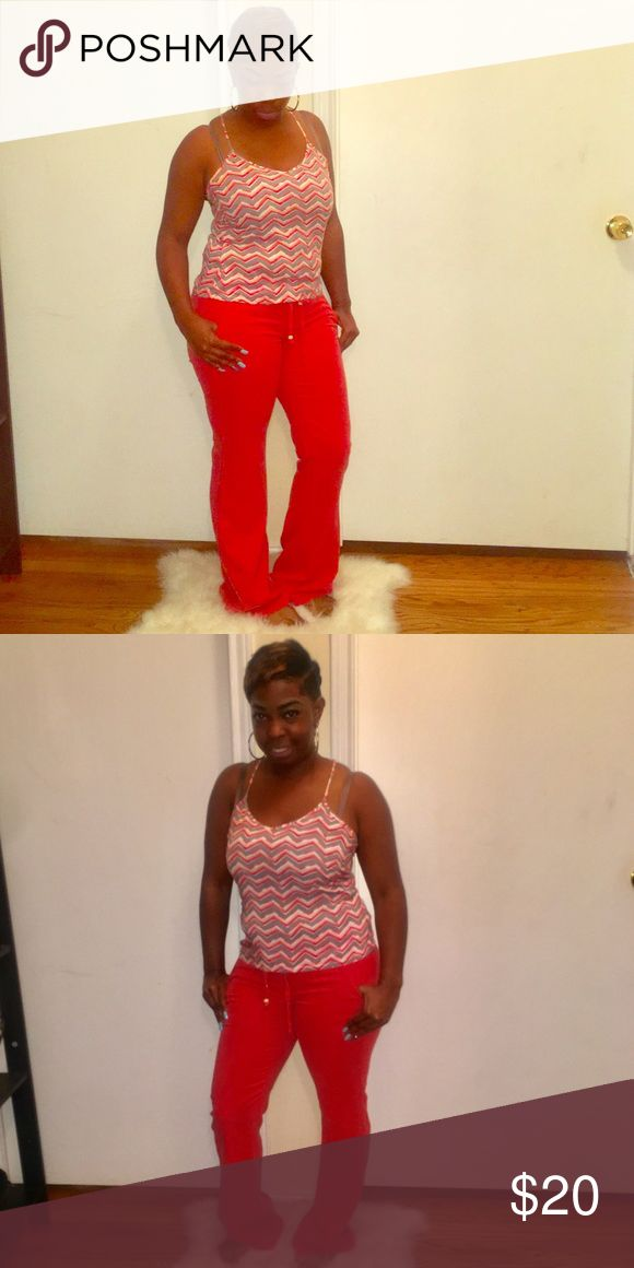 Outfit Linen pants with top. Both size Small. Pants are coral color. Shirt is coral, gray, and cream. Ecko Unlimited Pants