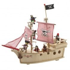 Wooden Pirate Ship -  Relax, you landlubber, while your brave pirate sails the seven seas in this wooden pirate ship with captain, four crew and treasure chest. Note: Some assembly requiredAge 3+