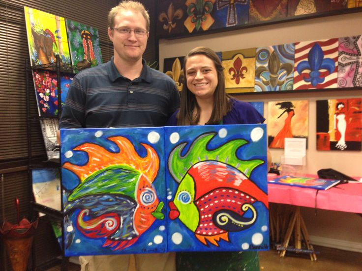 Couples painting kissing fish my creations pinterest for Paint night home parties