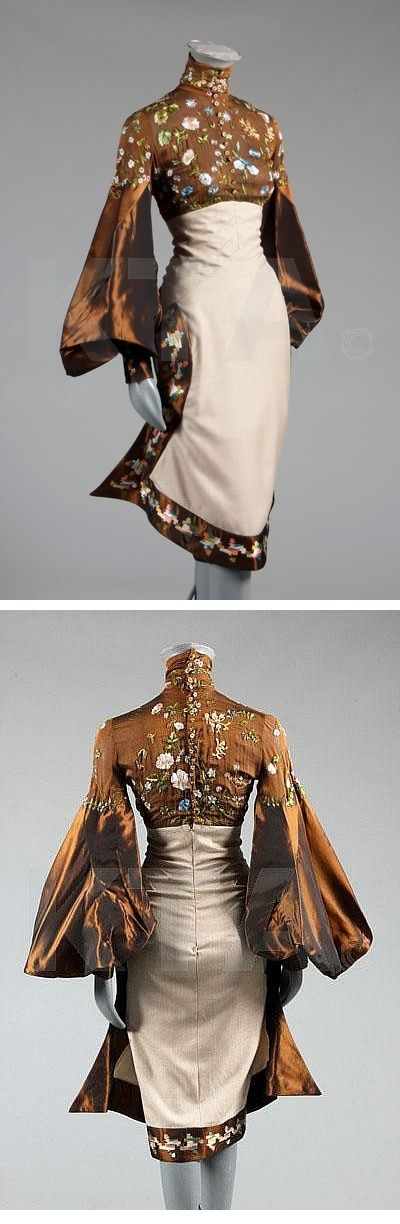 Dress design idea: Kimono style with a modern twist, but in white with lavender and silver embroidery.