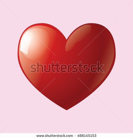 3D red heart icon vector. Vector Illustration. Heart icon. Love symbol