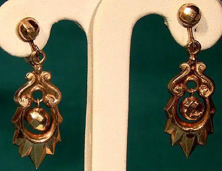 Victorian 12K Rose Gold Drop Earrings 1900
