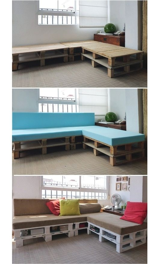 19 Great DIY Tutorials for Home Decoration OK...must find the directions...this is exactly the kind of sofa we need in our living room!