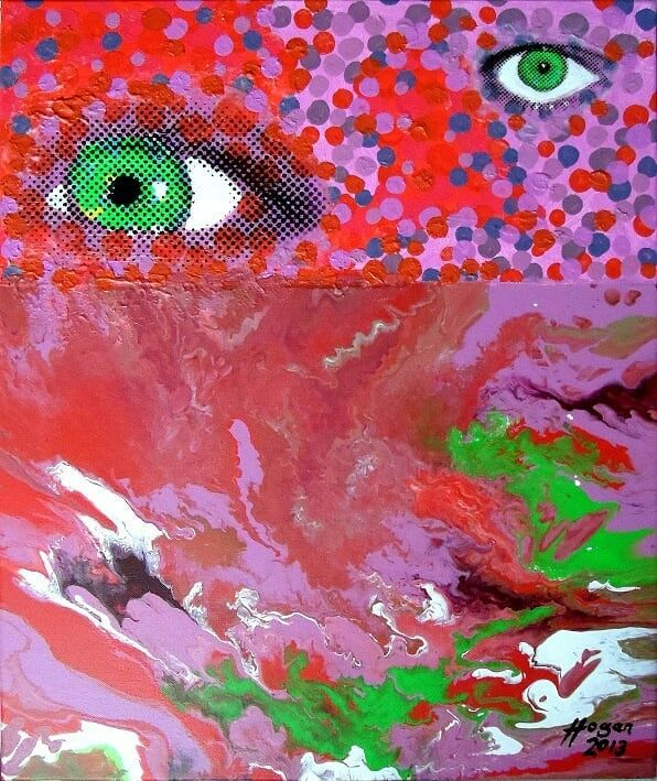 'Instrument of reflection IV' - acrylic on canvas. One of four paintings in this art project.  .  .  #instrumentofreflection  #art #instaart #artist #greenonred #red #greeneyes #eyesofinstagram #eyes #artistsofinstagram #contemporaryart #instalike #konst #taide #artcollection #instaartist #artcollective #röd #artofinstagram #artistlife #artlife #painter #paintings #alanhogan #hoganartgarage #artists_center #artoftheday #artforsale #canvasart #punainen