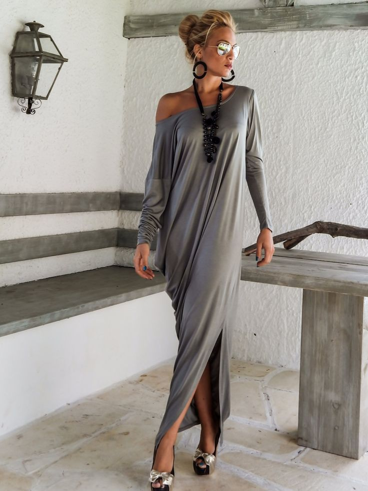 Gray Maxi Long Sleeve Dress / Gray Kaftan / Asymmetric Plus Size Dress / Oversize Loose Dress / #35048 by SynthiaCouture on Etsy