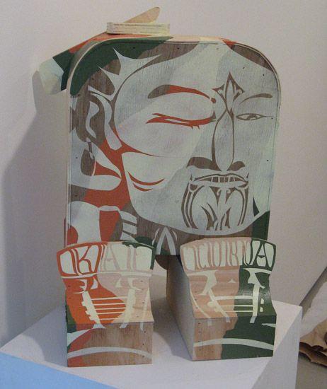 Artist: Reweti Arapere  Rakai Toroa  year: 2009  size: 535 x 330 x 235 mm  media: acrylic and aerosol on plywood