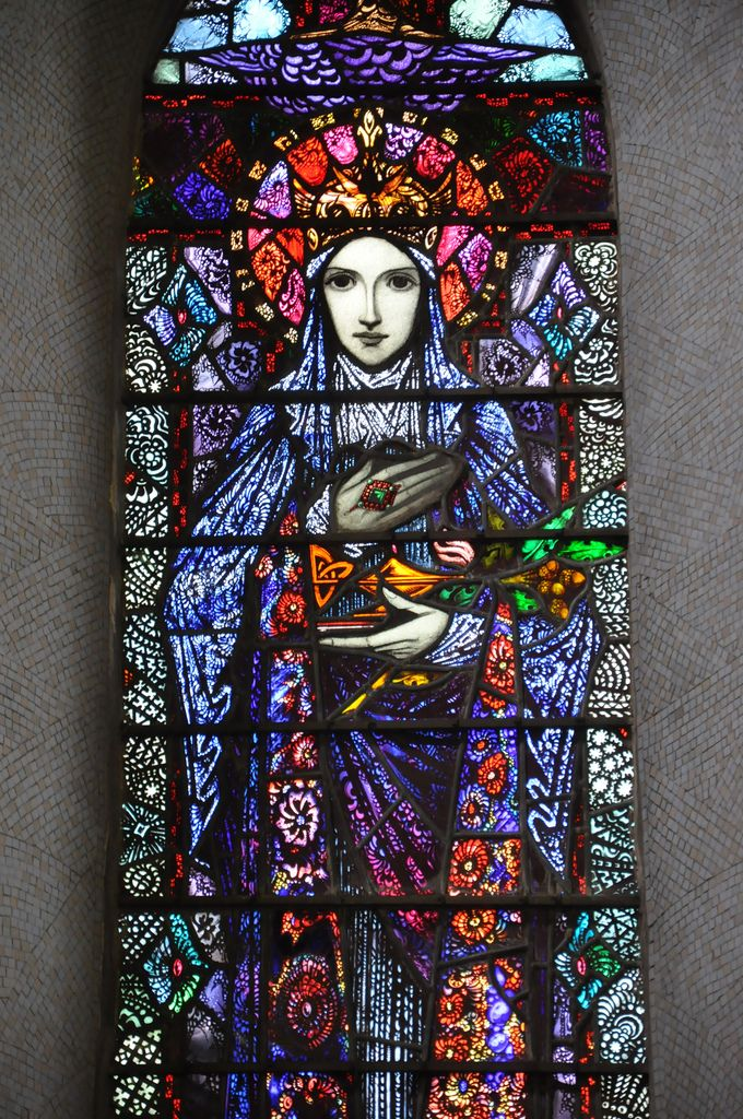 glitzandgrandeur:  Stained Glass - Church Of Christ The King,Knockmore, County Mayo, Ireland Photographed by Fergal of Claddagh, Flickr http://www.flickr.com/photos/feargal/6870272399 KillalaDiocese.org has the church listed with the year 1845. Don't know if maybe the windows were renovated, or of these are indeed the originals. They look bright and modern. If they are originals, - all the more impressive.   By my man Harry Clarke. #StainedGlassChurch